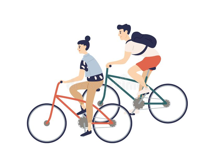 Cute romantic couple riding bicycles. Young man and woman on bikes isolated on white background. Boy and girl performing vector illustration