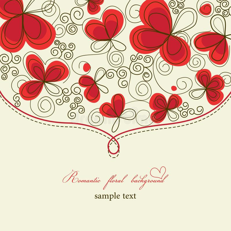 Cute romantic floral background vector illustration