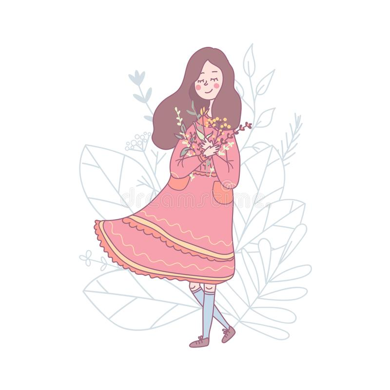 Cute romantic girl with spring flowers stock illustration