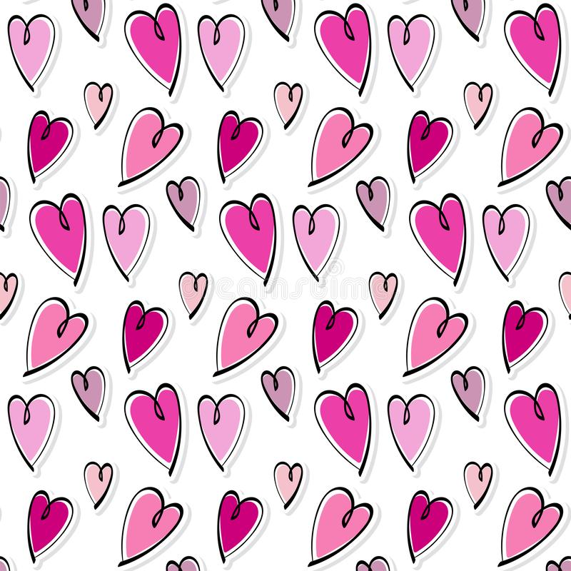 Cute romantic hearts valentine`s day pattern background vector illustration