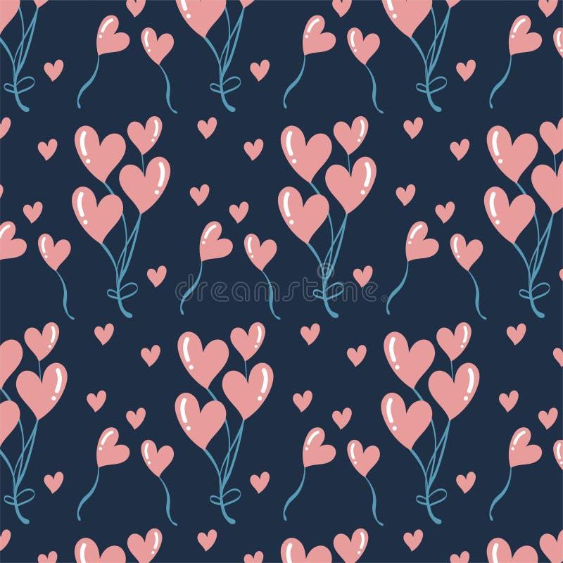 Cute romantic hearts valentine`s day pattern background stock illustration
