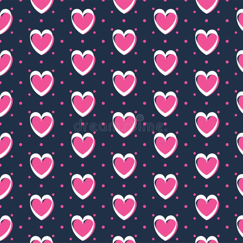 Cute romantic hearts valentine's day pattern background vector illustration