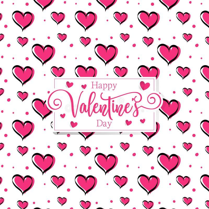 Cute romantic hearts valentine's day pattern background stock illustration