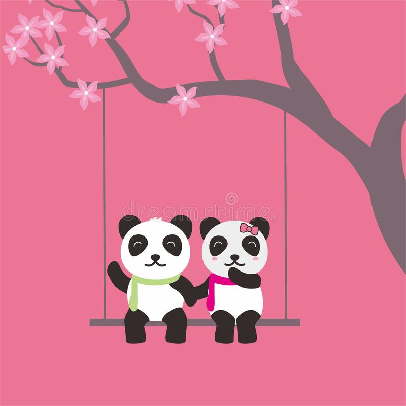 Cute And Romantic Couple Of Panda Vector Illustration For Valentine Day Stock Vector Illustration Of Greeting Flat 135824516