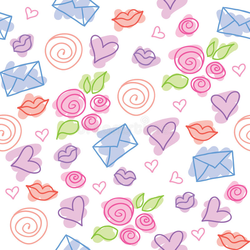 Romantic pattern. Cute romantic pattern with roses, hearts and envelopes vector illustration