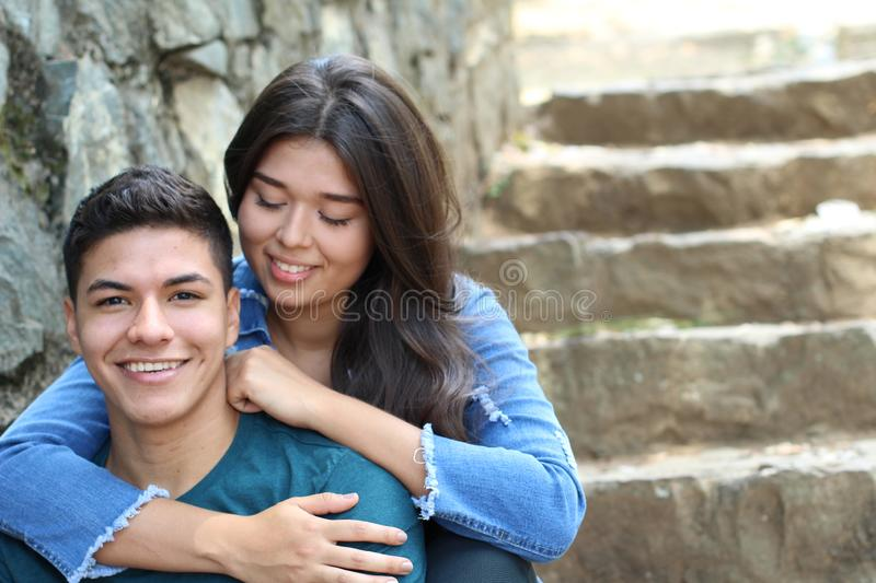Cute romantic young ethnic couple stock photo