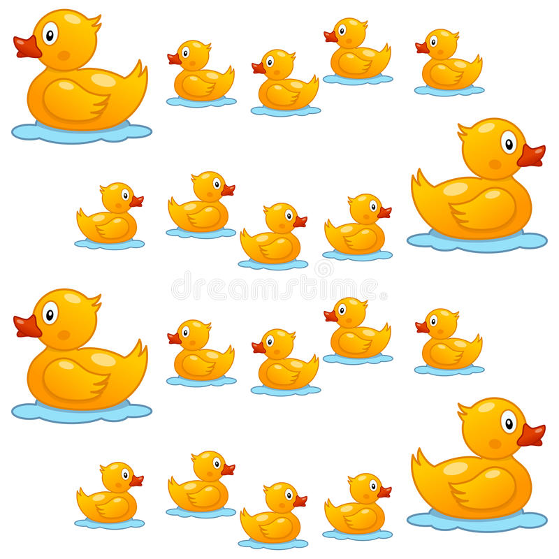Rubber Duck Family Seamless Pattern vector illustration