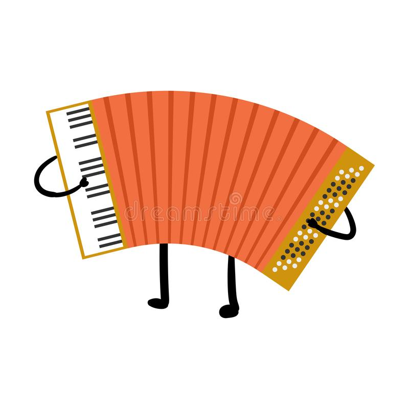 Cute russian red color accordion funny character. Musical instrument. Flat style. Vector illustration on white background vector illustration
