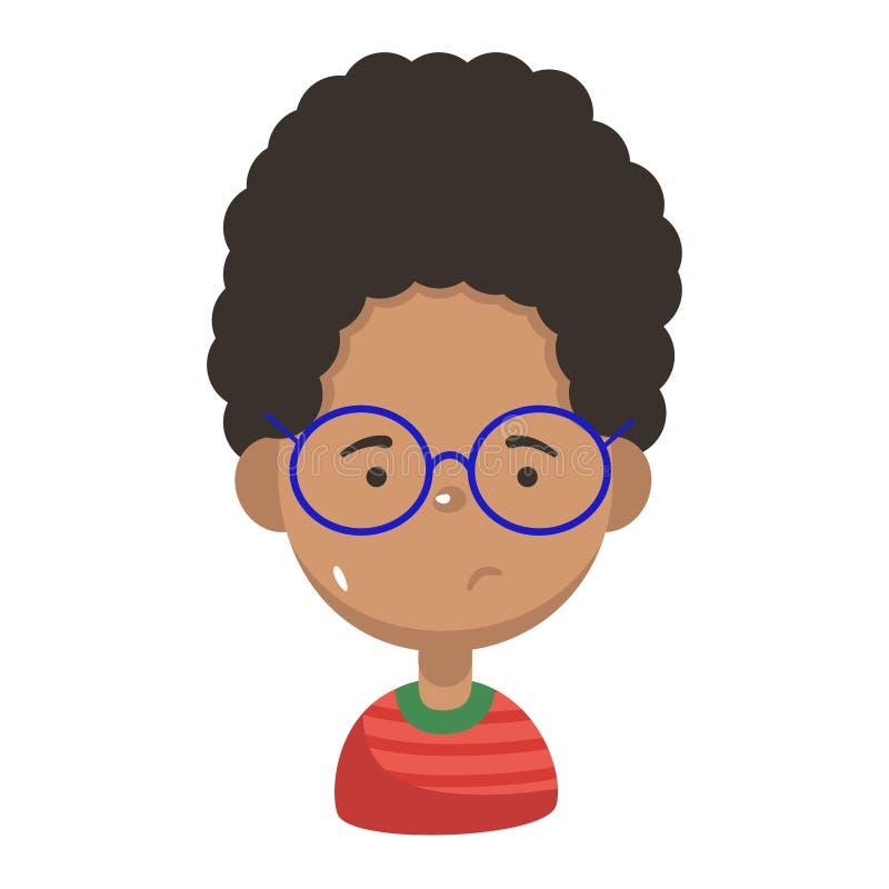 Free Cute Sad Cartoon Black Children Portraits. African American Boy Isolated Vector Illustration Royalty Free Stock Image - 174700046