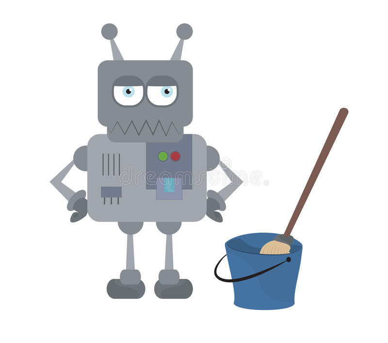 Cute sad house robot and cleaning tools standing royalty free illustration