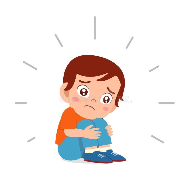 Free Cute Sad Kid Boy Sitting Alone Scared Stock Image - 164364931