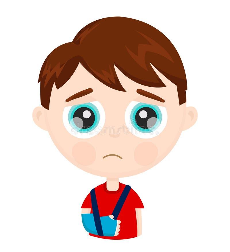 Cute sad little boy kid child with broken vector illustration