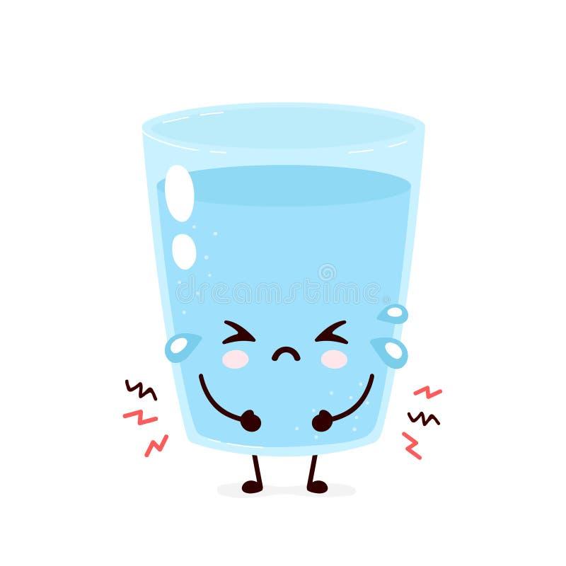 Cute sad water glass. Vector flat stock illustration