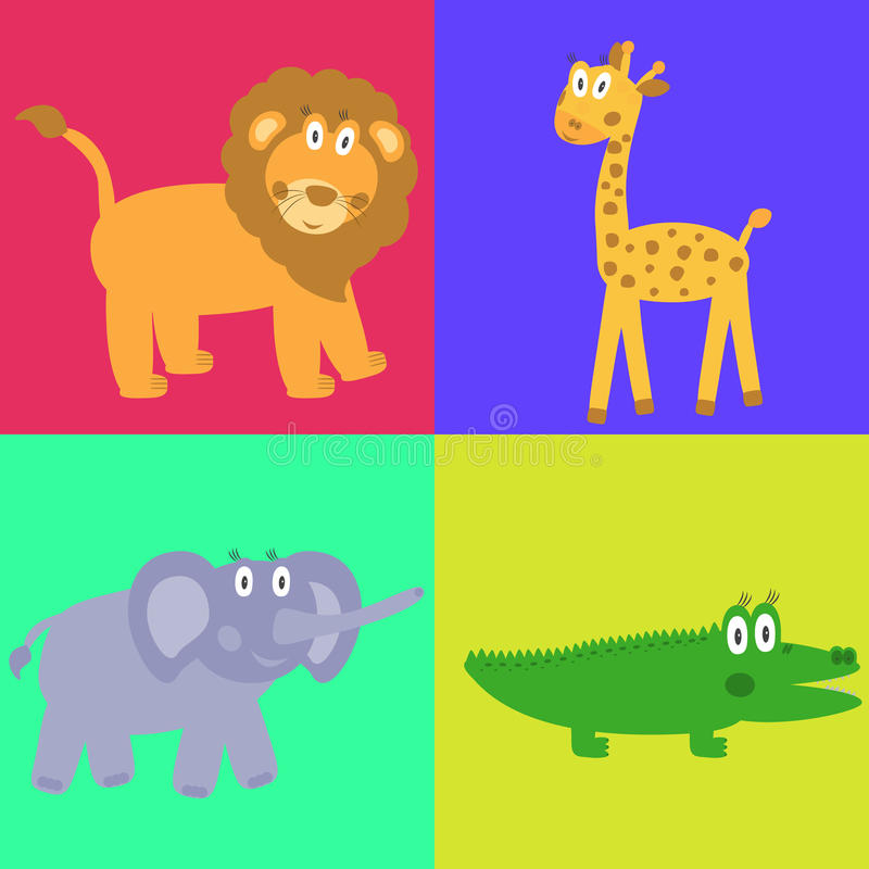 Download Cute Safari Cartoon Animals Set Stock Vector - Image: 23931189