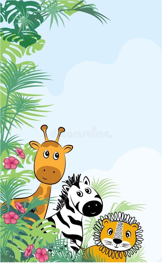Cute safari cartoon animals svänger för barn, mall för inbjudningskort stock illustrationer