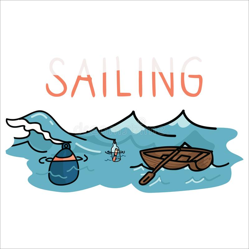 Cute sailing set cartoon vector illustration motif set. Hand drawn isolated boating trip buoy elements clipart for ocean. Blog stock illustration