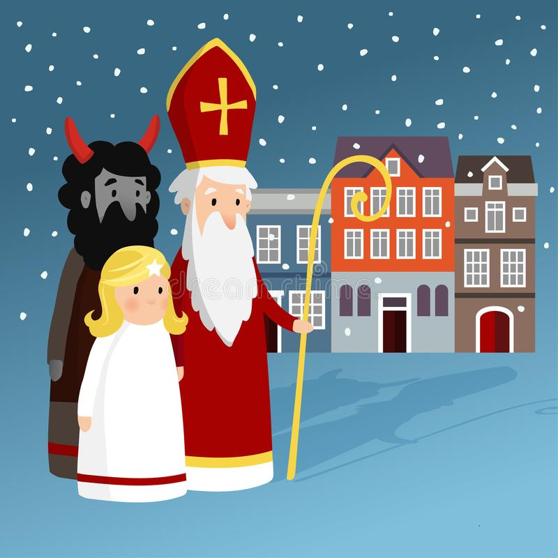 Cute Saint Nicholas with angel, devil, old town houses and falling snow. Christmas invitation card, vector illustration royalty free illustration