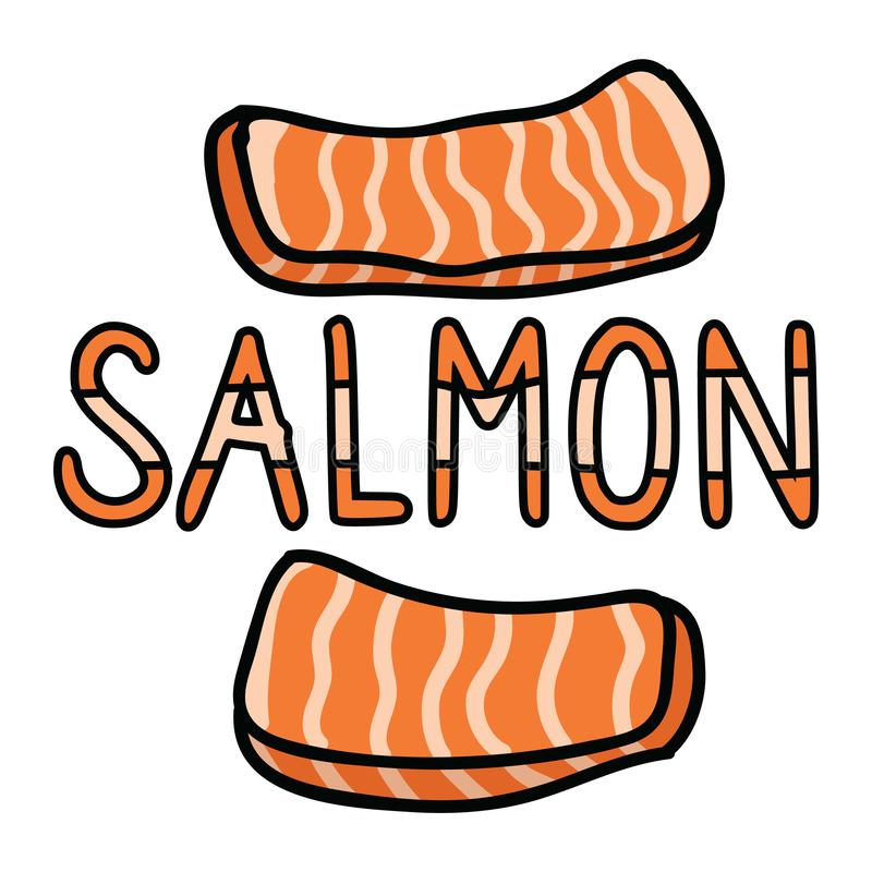 Cute salmon sashimi typography graphic. Hand drawn japanese sushi snack clipart. Cute salmon sashimi typography graphic. Hand drawn japanese sushi clipart stock illustration