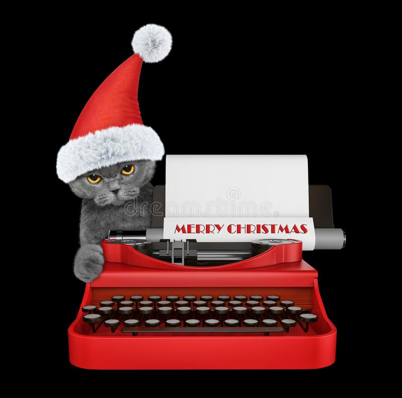 Cute santa cat is typing on a typewriter keyboard. Isolated on black royalty free stock images