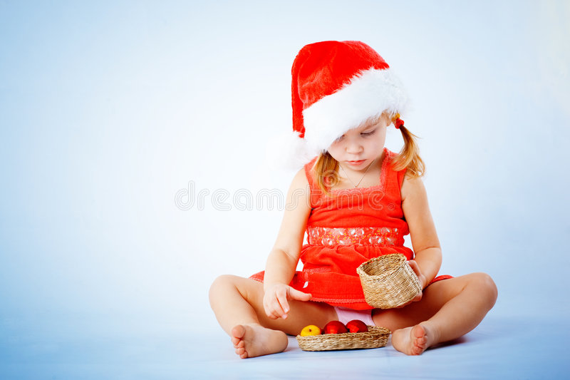 Download Cute Santa child stock image. Image of cute, nice, barefoot - 7387807
