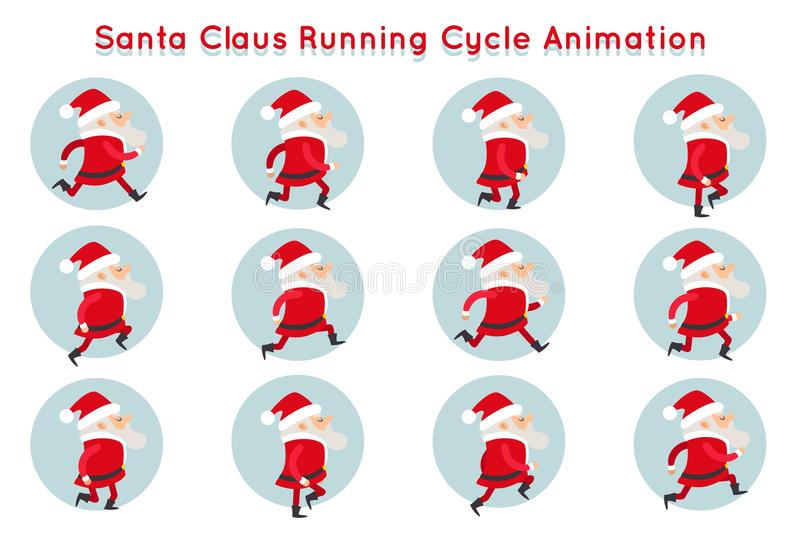 Cute Santa Claus Funny Running Cycle Animation Cartoon Character Frames Vector Illustration vector illustration