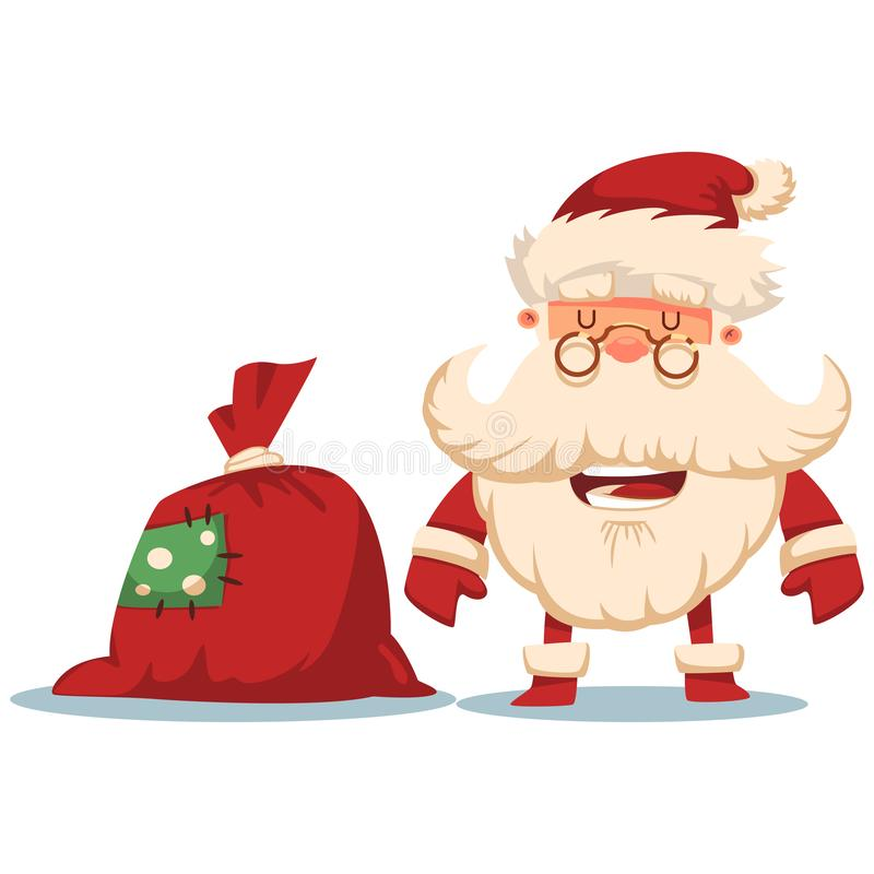 Cute Santa Claus, gift bag. Vector Christmas cartoon character stock images