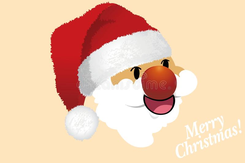 Cute Santa Claus head with Merry Christmas text stock illustration