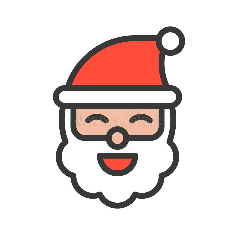 Cute santa claus head, Merry Christmas theme set, filled outline. Editable stroke pixel perfect icon royalty free illustration