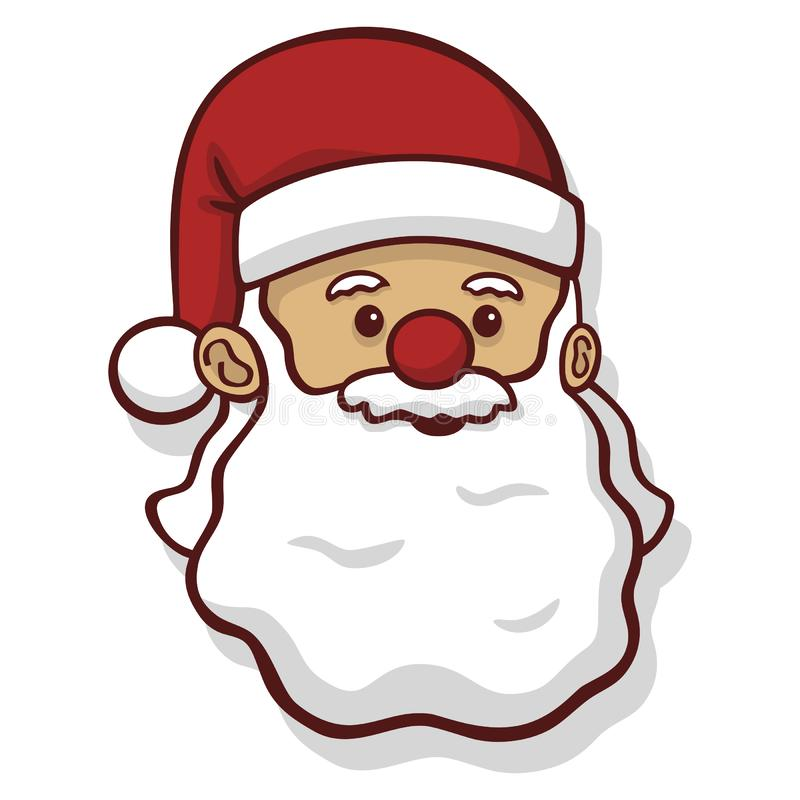 Cute Santa Claus head with a red nose vector drawing vector illustration