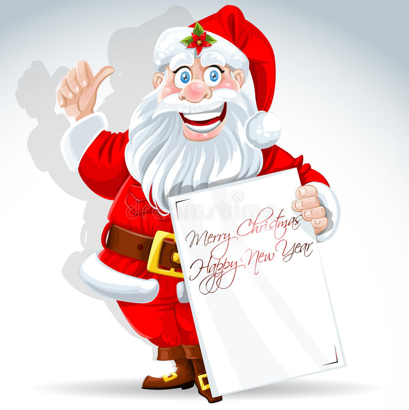 Download Cute Santa Claus Holds Banner For Text Stock Vector - Illustration: 27394502