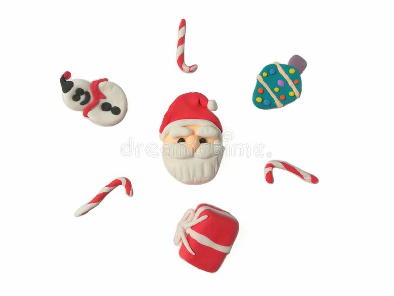 Cute Santa Claus plasticine clay, ornaments Christmas dough, snowman and gift box royalty free stock image