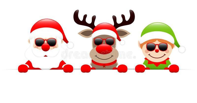 Santa Claus Reindeer And Elf Sunglasses Holding Horizontal Banner royalty free illustration
