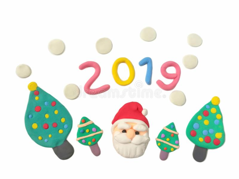 Cute Santa Claus, Christmas tree plasticine clay, number 2019 new year dough vector illustration