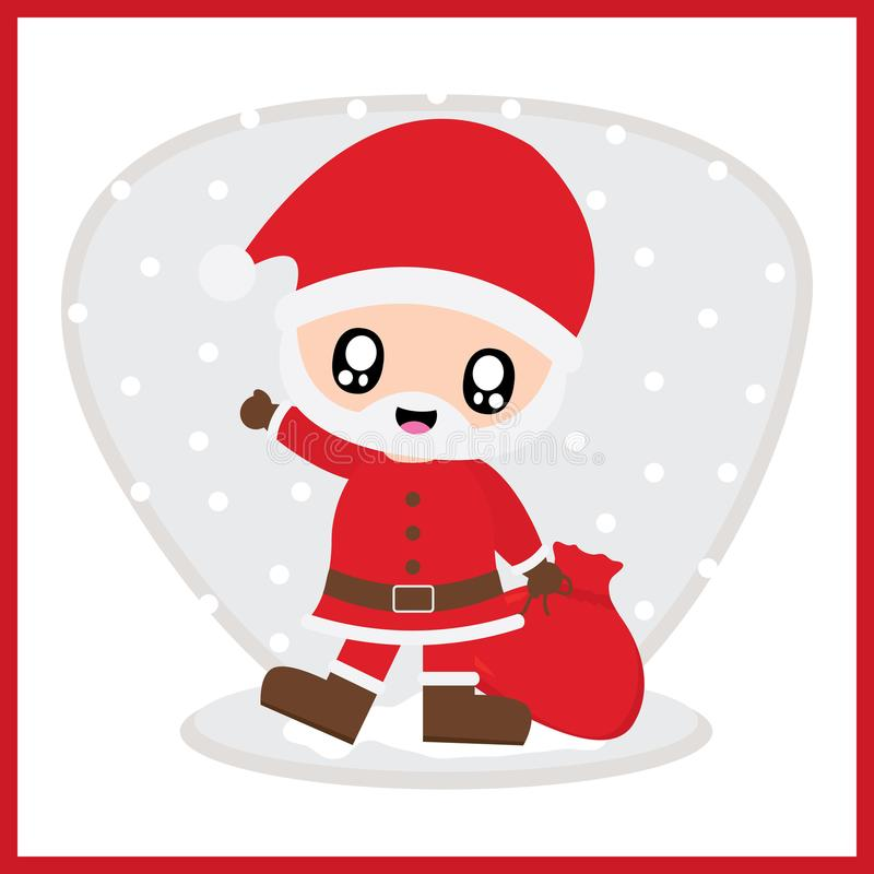 Cute Santa Claus on snow fall background cartoon illustration for Christmas card design. Wallpaper and greeting card stock illustration