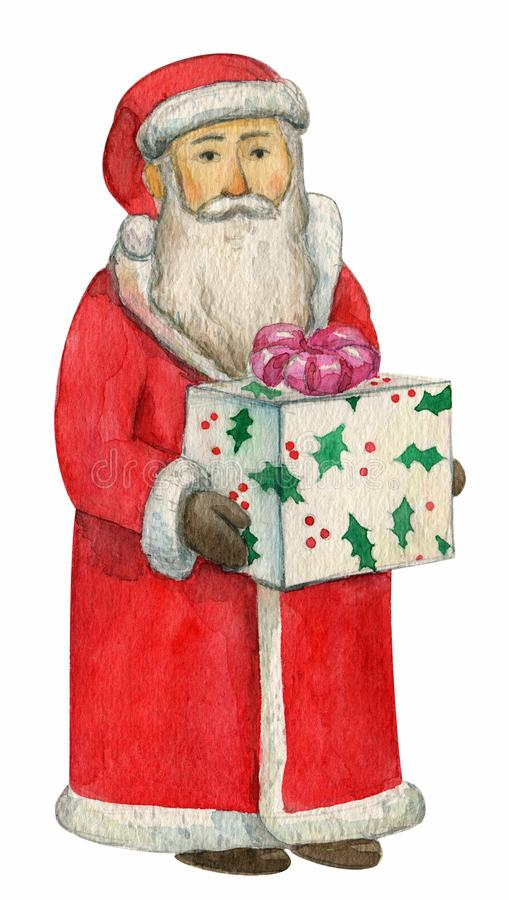 Cute Santa Claus wishing a Merry Christmas and Happy New Year with gifts bag, watercolor, hand drawing, aquarelle royalty free illustration