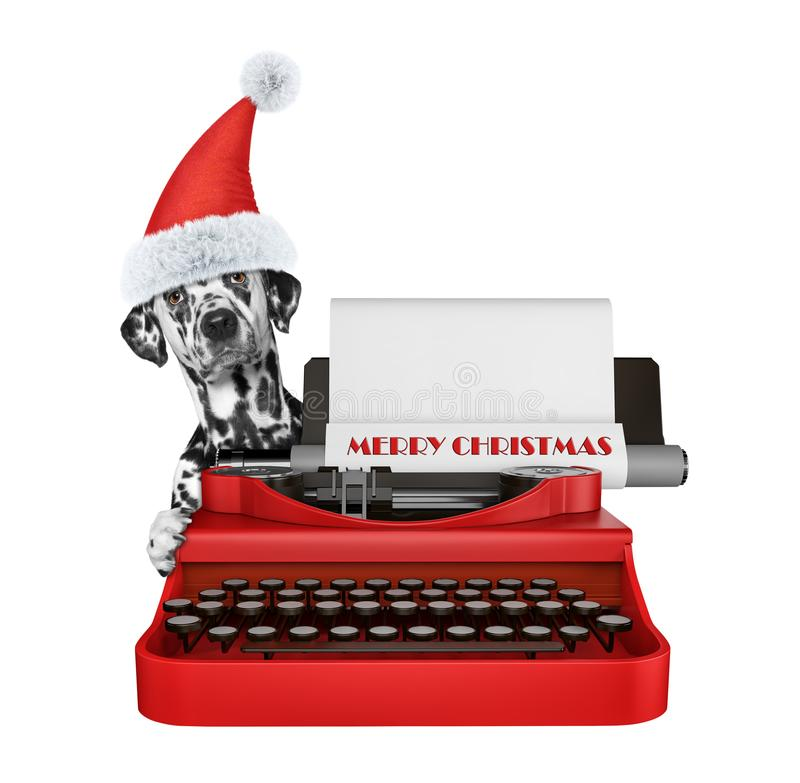 Cute santa dalmatian dog is typing on a typewriter keyboard. Isolated on white royalty free stock image