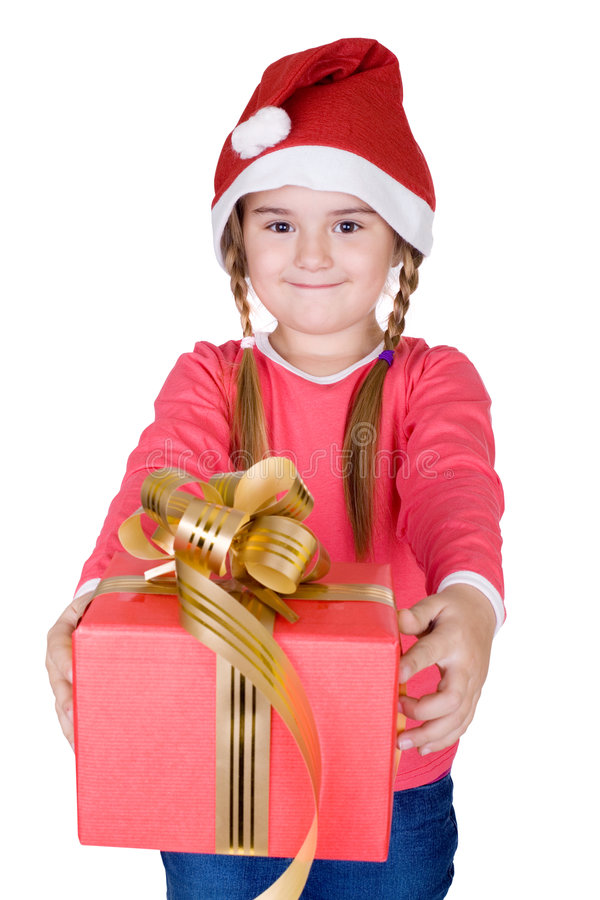 Cute Santa with gift. Cute little Santa with gift, white isolated, Christmas and New Year concept stock photography