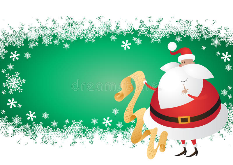 Download Cute Santa With List On A Snowflake Green Backgrou Stock Vector - Image: 22030021