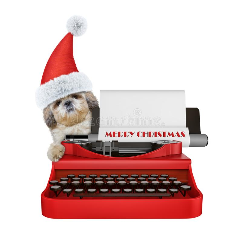 Cute santa shitzu dog is typing on a typewriter keyboard. Isolated on white stock photo