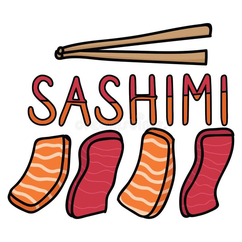 Cute sashimi assortment illustration. Hand drawn raw tuna and salmon Japanese lunch food clipart. Cute sashimi assortment illustration. Hand drawn raw tuna and royalty free illustration