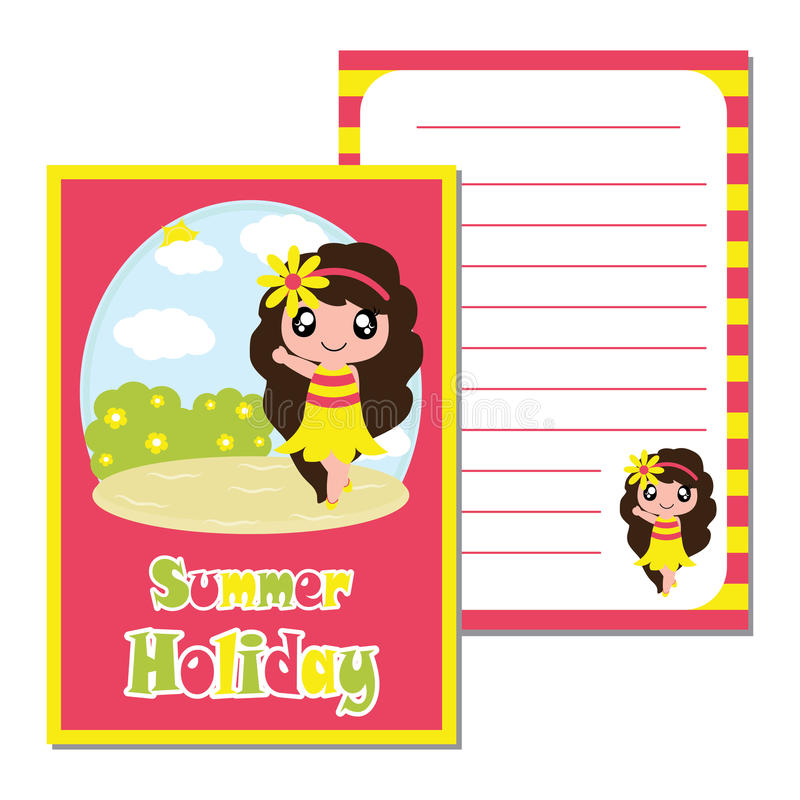 Download Cute Say Hello On The Beach Background Vector Cartoon Kid Notebook Paper Stock
