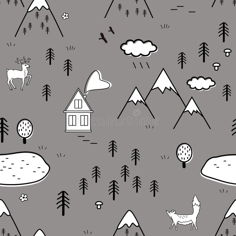 Cute scandinavian landscape with animals, trees, lake, and mountains, seamless pattern. Scandinavian style traditional vector illustration