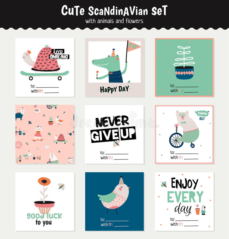 Cute scandinavian set of greeting cards stock illustration