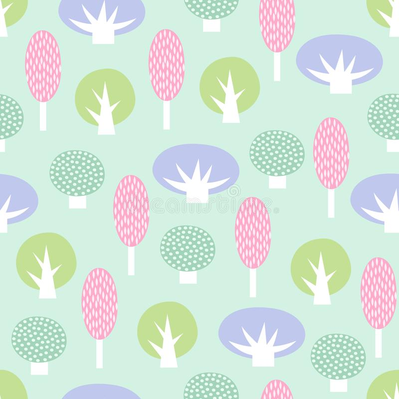 Cute scandinavian style decorative trees seamless pattern. royalty free stock photos
