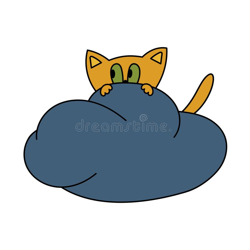 Cute scared cartoon cat on a cloud. Vector royalty free illustration
