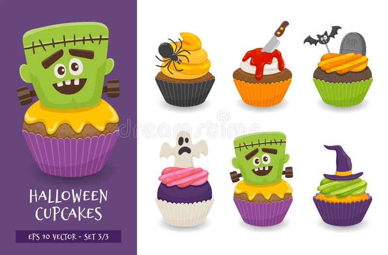Cute and scary halloween cupcake collection stock illustration
