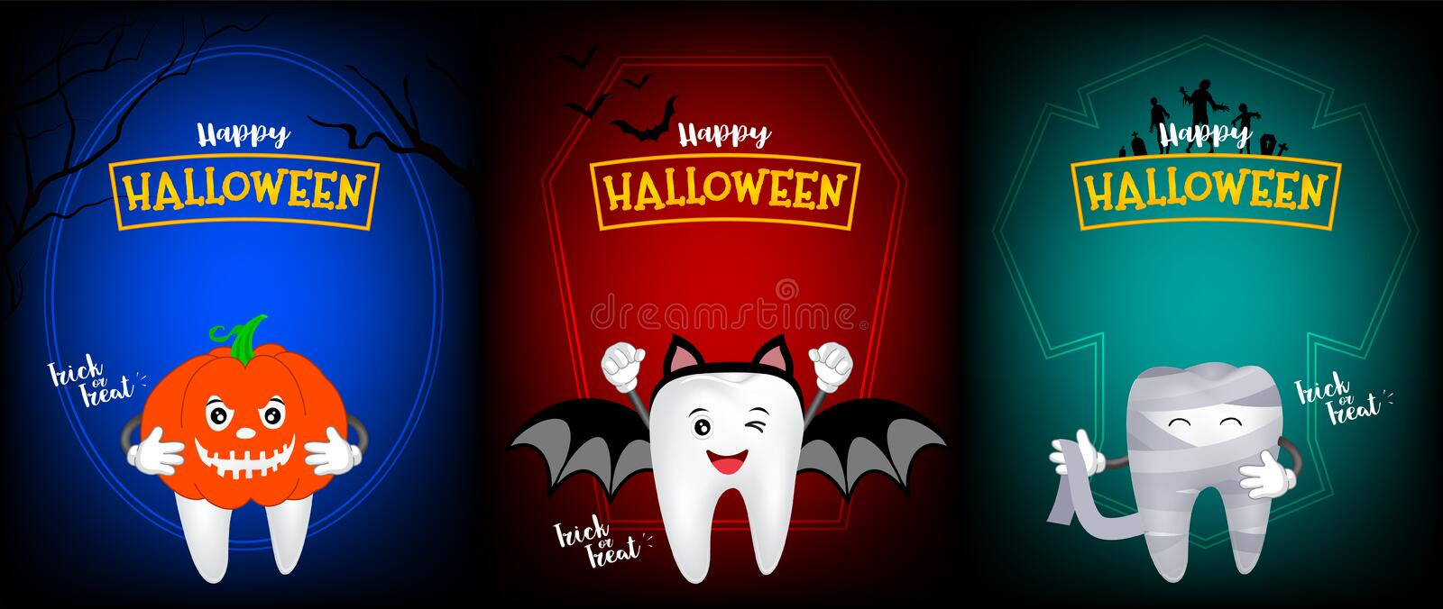 Cute scary tooth character design of pumpkin, bat and mummy. royalty free illustration