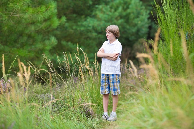 Cute school boy hiking in the woods in summer royalty free stock photography