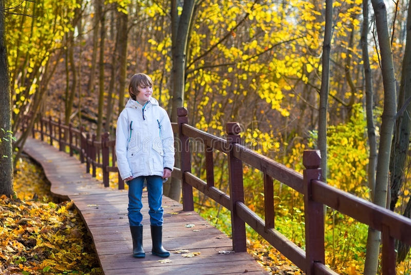 Cute school boy in park on wooden path way. Cute school boy walking in a park on a wooden path way stock photography