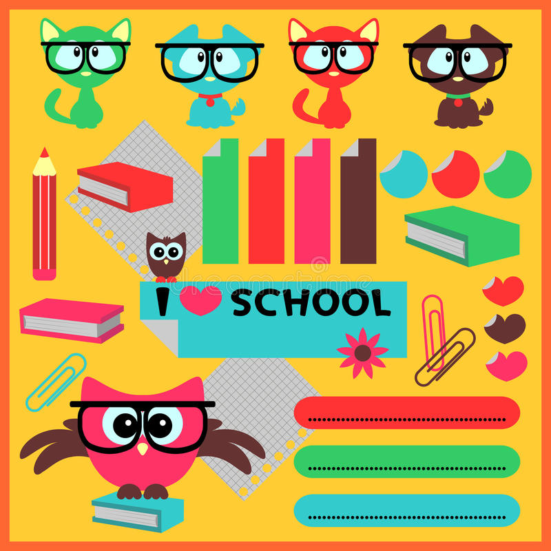 Download Cute school elements stock vector. Illustration of sweet - 26961152